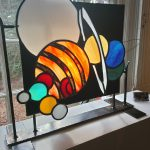 stained glass fire screen - the solar system