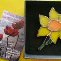 glass daffodil brooch