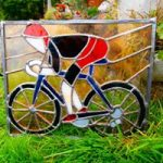 stained glass commission , panel depicting road cyclist