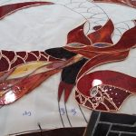 stained glass red dragon, part of the Year of The Welsh Legends window at Myddfai Hall