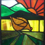 art deco style window, hen, chiken