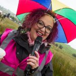 commentating in the rain at The World Bog Snorkelling Championships